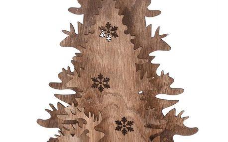Vánoční dřevěná dekorace Christmas tree with Reindeers, 38,5 cm