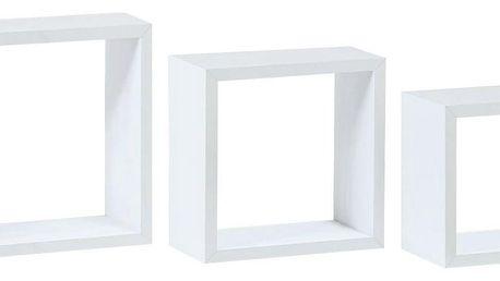 Sada nástěnných poliček bílá matná, 3 ks