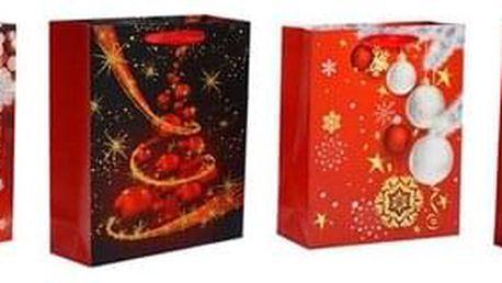 Sada vánočních dárkových tašek 4 ks, červená, 26 x 32 x 10 cm