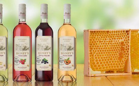 4 nebo 6 medových vín Honey's s ovocnou příchutí