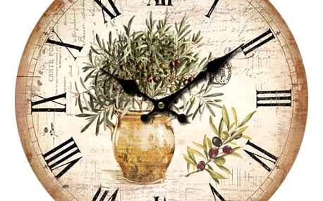 Dřevěné nástěnné hodiny Vintage olives, pr. 34 cm