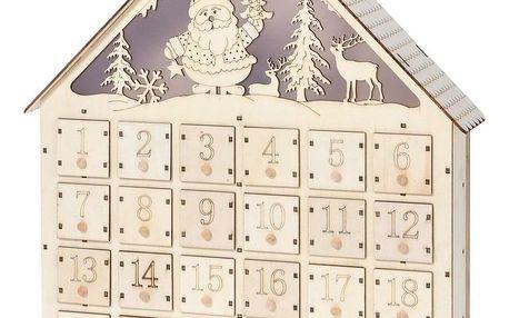 Adventní LED dřevěný kalendář Secrets of Santa, , 37,5 x 43 cm