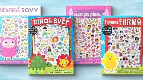 Knihy se samolepkami: dinosauři, jednorožci i farma