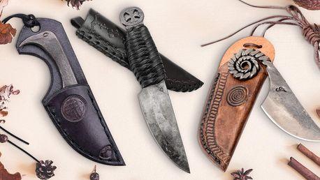 Ručně kovaný kapesní nůž v koženém pouzdře