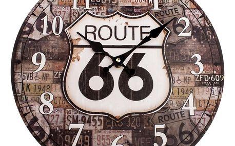 Dřevěné nástěnné hodiny Route 66, pr. 34 cm