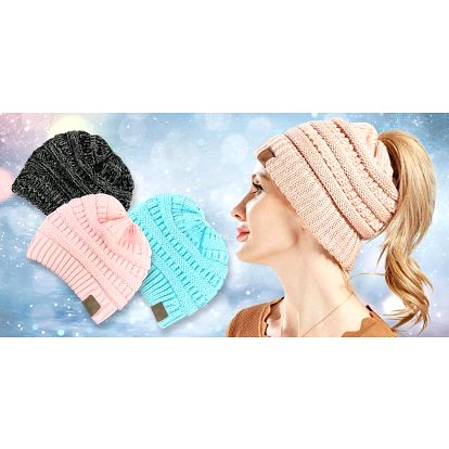 Pletená čepice s otvorem pro culík v 9 barvách