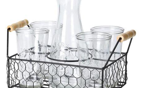 Sada karafy a 4 sklenic v drátěném stojanu