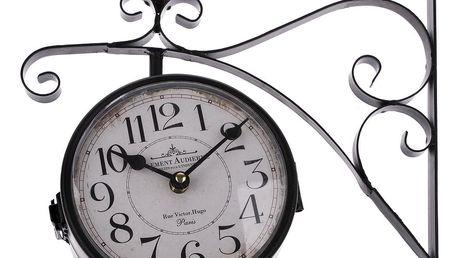 Oboustranné závěsné kovové hodiny černá, 31 x 30 cm