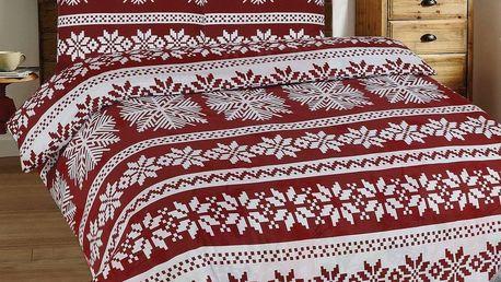 Kvalitex Vánoční flanelové povlečení Vločky bordó, 140 x 200 cm, 70 x 90 cm