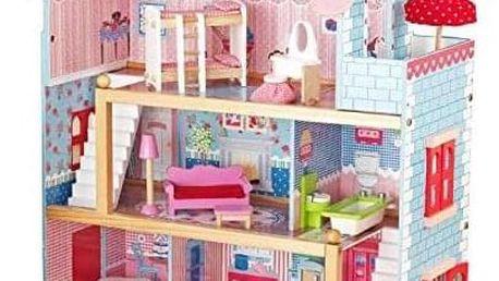 Infantastic Dřevěný domeček pro panenky s LED světlem, 76 x 30 x 82 cm
