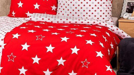 4Home Bavlněné povlečení Stars red , 140 x 220 cm, 70 x 90 cm