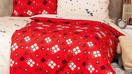 4Home Vánoční bavlněné povlečení Christmas joy , 220 x 200 cm, 2 ks 70 x 90 cm
