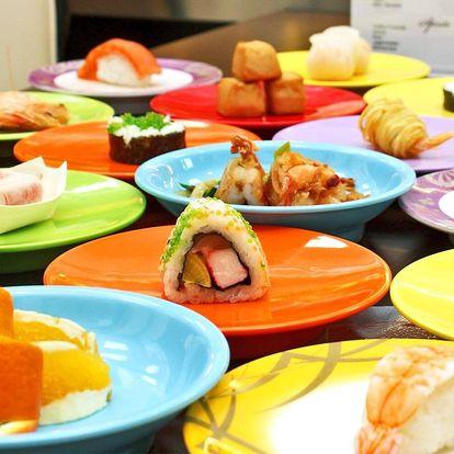 2hod. asijská hostina: running sushi plné dobrot