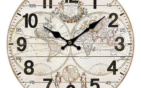 Dřevěné nástěnné hodiny Old map, pr. 34 cm