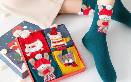Sety 4 párů vánočních ponožek v dárkové krabičce